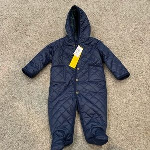Ralph Lauren Polo Quilted Blue Snowsuit Bunting